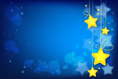 Shining Magic Stars on Dark Blue Background. Image contains gradients, transparencies, blends, blending modes, gradient meshes. EPS 10 Illustration