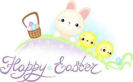 Easter Greeting Card with Cute Easter Bunny and Chickens on the Easter Egg Hunt Çizim