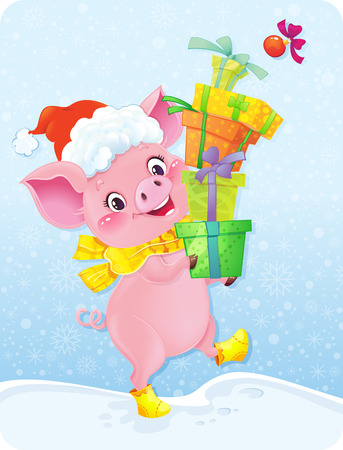 Cute Piglet for the Chinese New Year. Pig is a symbol of the approaching New 2019 year.Happy 2019 New Year card. Funny piglet congratulates on holiday. Ilustração