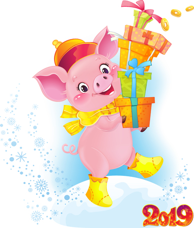 Cute Symbol of Chinese Horoscope - Yellow Earthy Pig with Gift Boxes