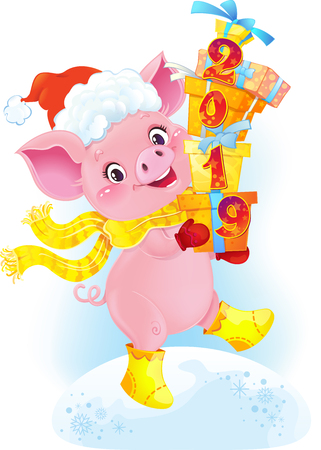 Yellow Earthy Pig with Gift Boxes. Cute Symbol of Chinese Horoscope. Cute Piglet for the Chinese New Year. Pig is a symbol of the approaching New 2019 year. Symbol of Chinese horoscope.Happy 2019 New Year card. Funny piglet congratulates on holiday.Image contains gradients, transparency, blending modes, meshes.