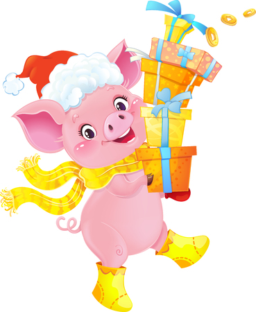 Yellow Earthy Pig with Gift Boxes. Cute Symbol of Chinese Horoscope. Cute Piglet for the Chinese New Year. Pig is a symbol of the approaching New 2019 year. Symbol of Chinese horoscope.Happy 2019 New Year card. Funny piglet congratulates on holiday.  Image contains gradients, transparency, blending modes, meshes. Ilustração