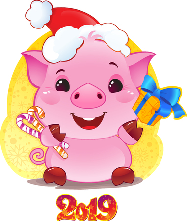Pig with Gift Box for the New Year 2019. Cute Symbol of Chinese Horoscope.