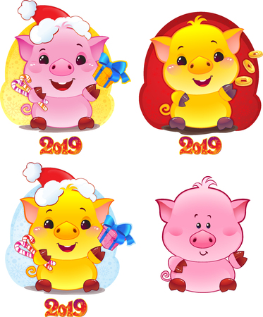 Yellow Earthy Pig for the New Year 2019. Cute Symbol of Chinese Horoscope. Set of Symbols of Chinese horoscope for 2019. Cute piglet in cartoon style. Happy 2019 New Year card.