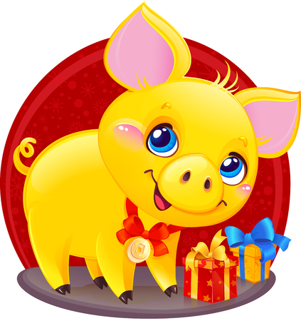 Yellow Earthy Pig for the New Year 2019. Cute Symbol of Chinese Horoscope.