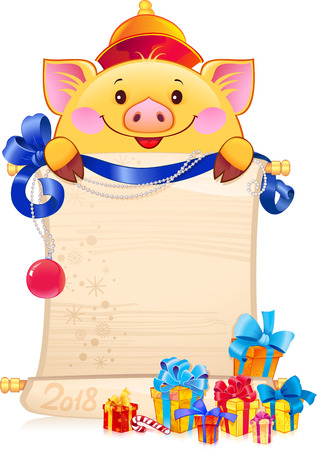 Yellow Earthy Pig for the New Year 2019. Symbol of Chinese horoscope - pig with a scroll. Illustration with a copyspace. Çizim