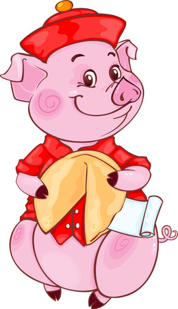 Cute Mandarin Piglet with Fortune Cookie for the New Year 2019.  Chinese New Year 2019 Year of Pig Symbol of Chinese horoscope for 2019. Cute pig in cartoon style. Standard-Bild - 117169119
