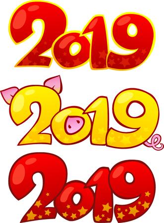 2019 Happy New Year design elements Happy Chinese new year 2019. Çizim