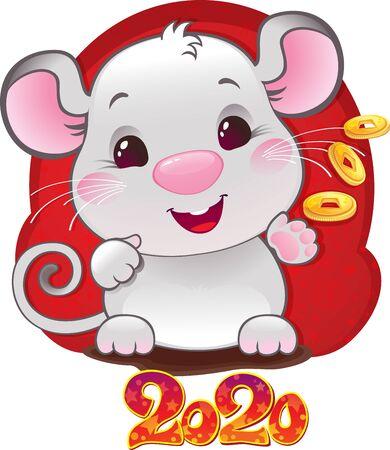 White Metal Rat - symbol of Chinese horoscope for New 2020 Year. Cute white mouse - symbol of Chinese horoscope. Illusztráció