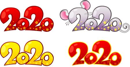 Happy chinese new year 2020. White Metal Rat is a Symbol of the New 2020 Year.Seasonal greeting design element, card, calendar, brochure template. Happy New Year card design. Illusztráció