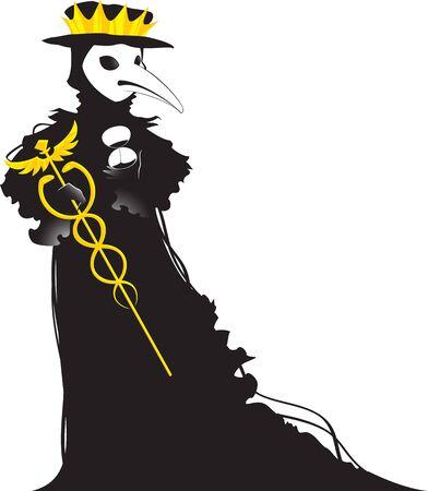 Coronavirus stylized as a black Venetian plague doctor.