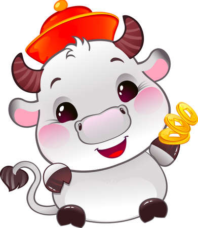 White Metal Ox with Lucky Gold Coins - Symbol of Chinese Horoscope for New YearCute Ox Calf in cartoon style. Happy 2021 New Year card
