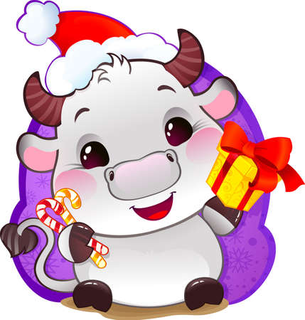 White Metal Ox in Santa's Hat, with Gift Box - Symbol of Chinese Horoscope for New Year Cute Ox Calf in cartoon style. Happy 2021 New Year card
