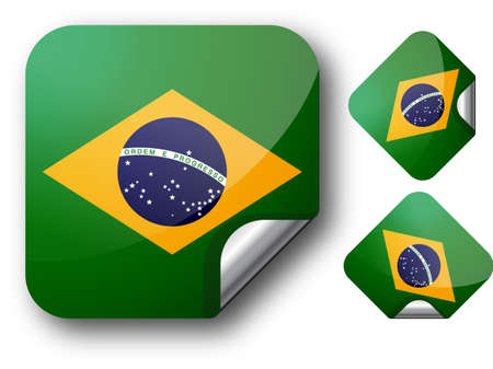 Sticker with Brazil flag Illustration