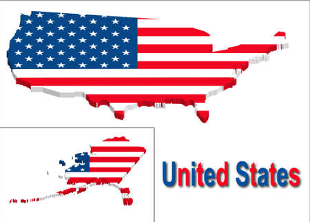 United states territory with flag texture. Vector