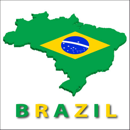 Brazil territory with flag texture. Vector