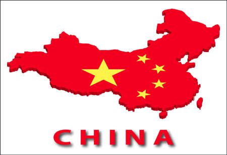 China territory with flag texture. Illustration