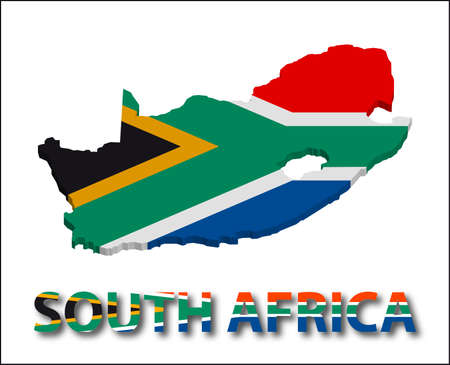 South africa territory with flag texture. Illustration. EPS10 Vector