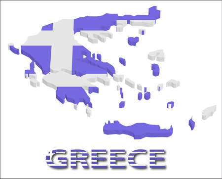 Greece territory with flag texture. Vector