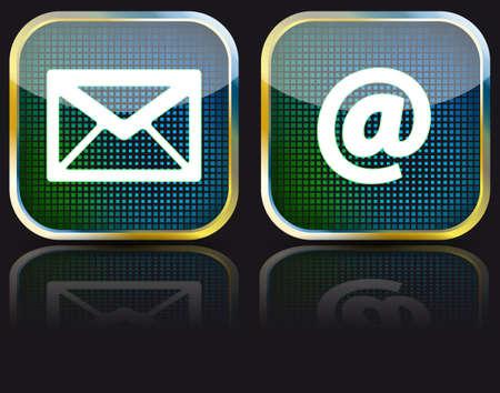 Icon e-mail glossy button
