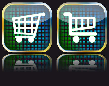 Glossy button grocery cart Vector