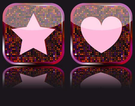 favoritos: Web brillante el bot�n con el icono de Favoritos.  Vectores