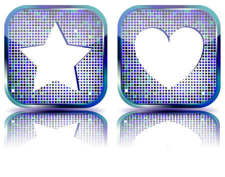 Glossy web button with favorites icon.