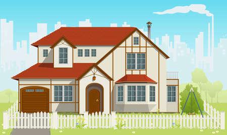 Casa de la familia y hierba verde. ilustración. EPS8