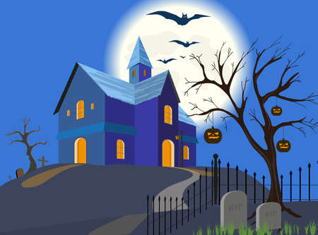 Full moon, flying bats and silhouette of a house on a hill.   Illustration