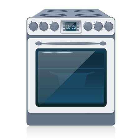 electrical appliance: Cocina Stove aislados en blanco. Vector.