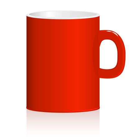 threateningly: Red mug on white background