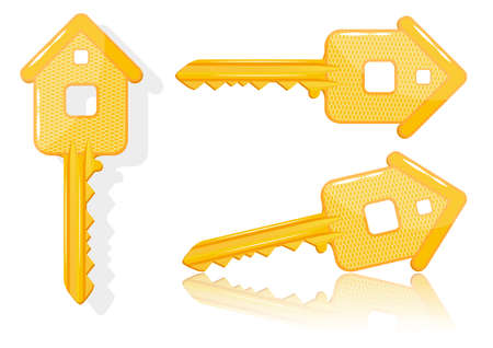 Real estate concept with house key - vector
