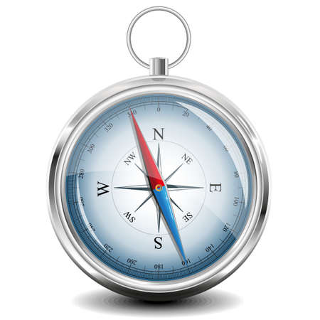 Kompass mit Windrose.  Vektorgrafik