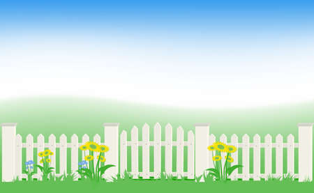 Grass and fence under blue sky. Stock Vector - 8852022