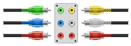 Set of Video and audio connectors. Vector. Vector