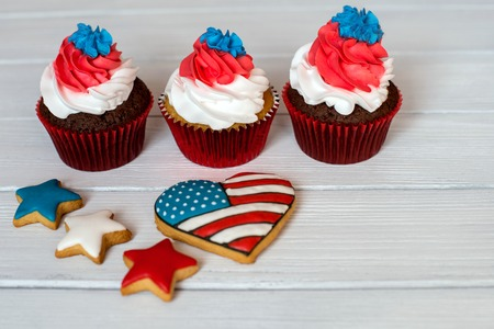 American patriotic themed cupcakes for the 4th of July.  Shallow depth of field. Stock Photo