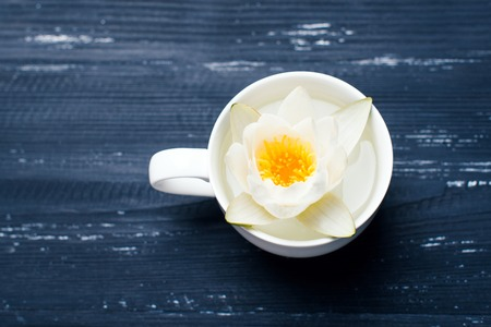 waterlilly: White cup of flowers on a wooden background Stock Photo