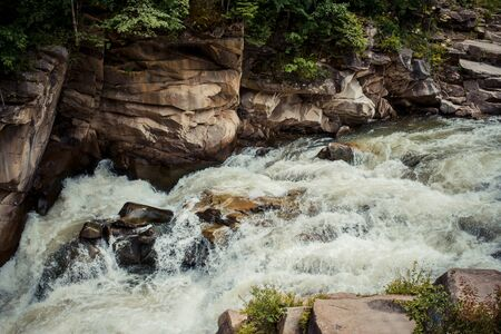 swiftly: Water flows swiftly over a streams rocky bottom in carpathian mountains