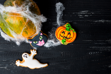 pumkin: Halloween homemade gingerbread cookies and pumkin with with spiderweb background
