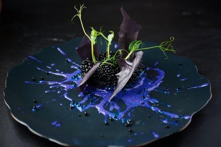 Plaque avec risotto noir sur fond noir avec une lumière dramatique latérale. Haute cuisine.