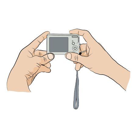 man pushing: Man holding digital camera in two hands. Man pushing button on digital camera. Illustration