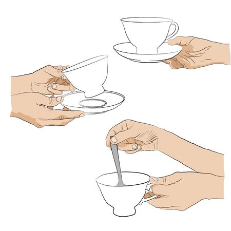 hand hold: Collection - hand with cup. Woman hold  cup in hand.  Woman stirs spoon in cup of tea.