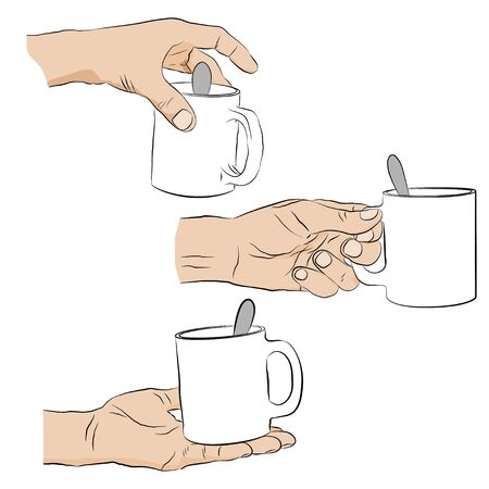 man holding transparent: Man holding cup of coffee. Collection of male hands with cup isolated on transparent background. Cup with spoon in human hand. Vector illustration.