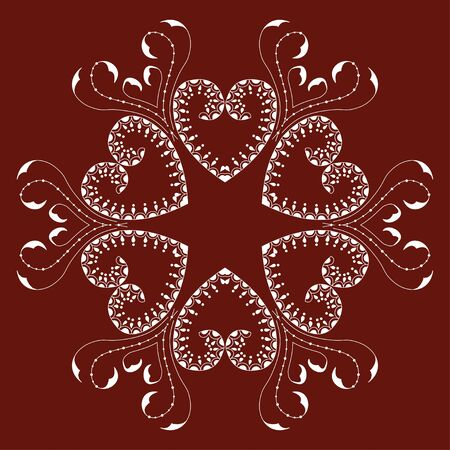 romantic: Hand-drawn white romantic ornament with heart on red background. Romantic mandala