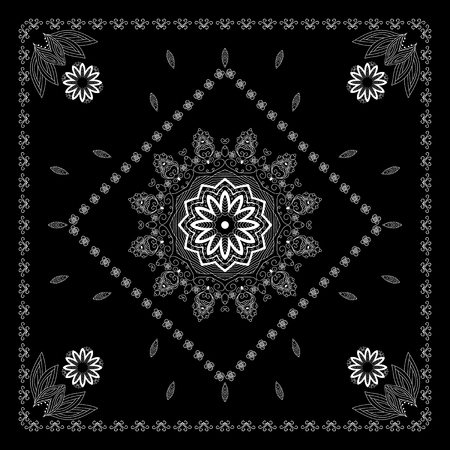 ascot: Black and white bandana print  with abstract  flower and leaf ornament.  Design for silk neck scarf, kerchief, hanky.  Kerchief square pattern design.