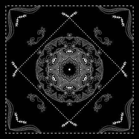 ascot: Black and white bandana print  with abstract ornament. Design for silk neck scarf, kerchief, hanky.  Kerchief square pattern design.