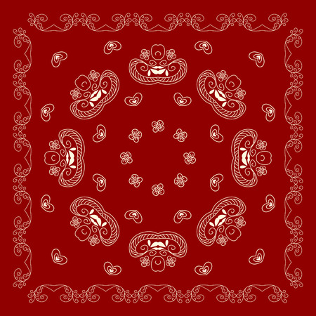 voile: Bandana print, Design for silk neck scarf, kerchief, hanky,  Kerchief square pattern design.