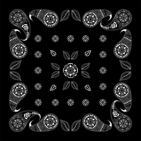 hanky: Black and white abstract bandana print with  element henna style.   Kerchief square pattern design. Design for silk neck scarf, kerchief, hanky