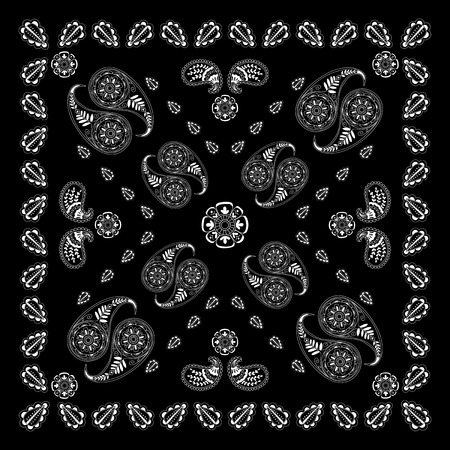 Black and white abstract bandana print with  element henna style.   Kerchief square pattern design. Design for silk neck scarf, kerchief, hanky