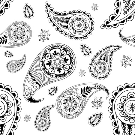 wrapper: Black and white seamless abstract pattern with element henna style. Wallpaper, textile, backdrop, cover, wrapper.